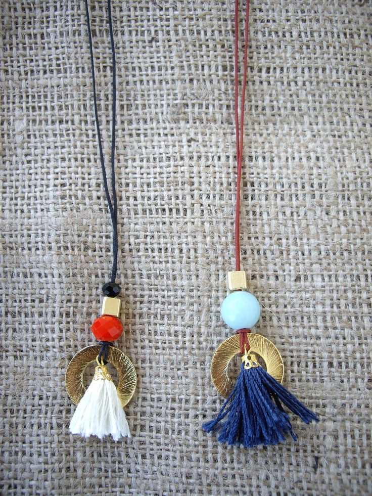 Necklaces with tassels and charms. Code: 23125/2 #jewellery #jewelleryfromourheart #thessaloniki #necklace #newcollection #Greece #trend #jewelry #beads #tassels #christmas #shopping #gift
