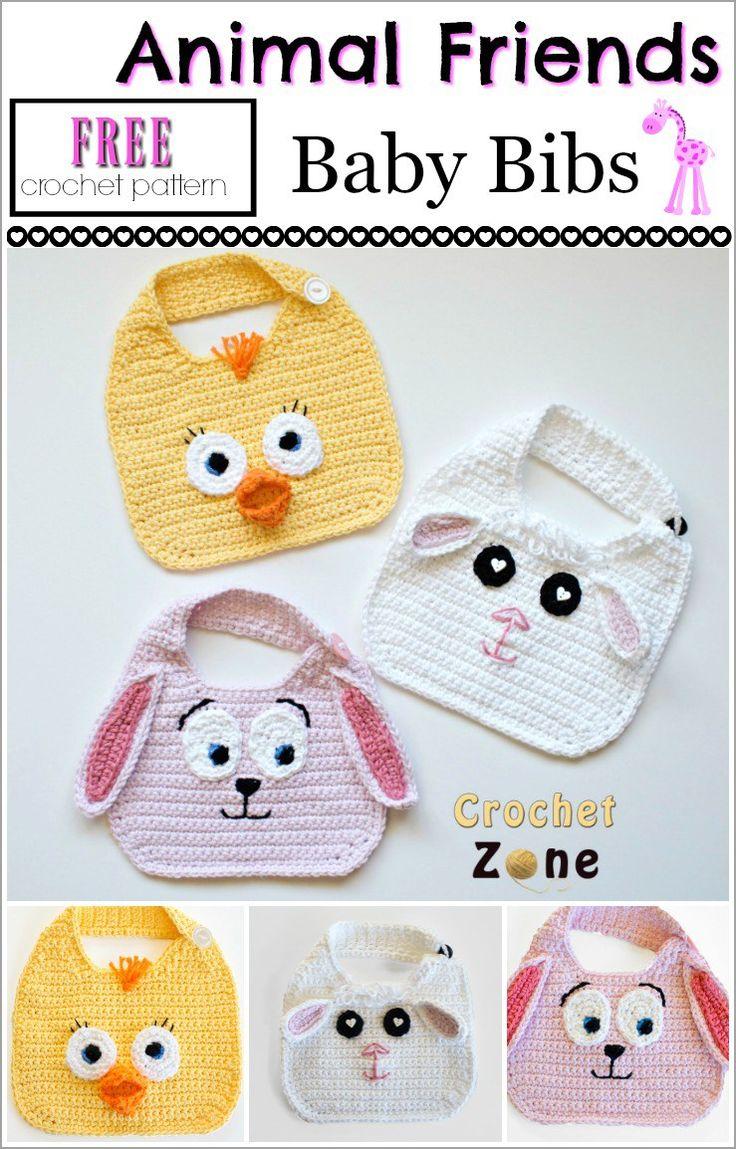 Free Crochet Pattern: Animal Friends Bibs - Crochet Zone