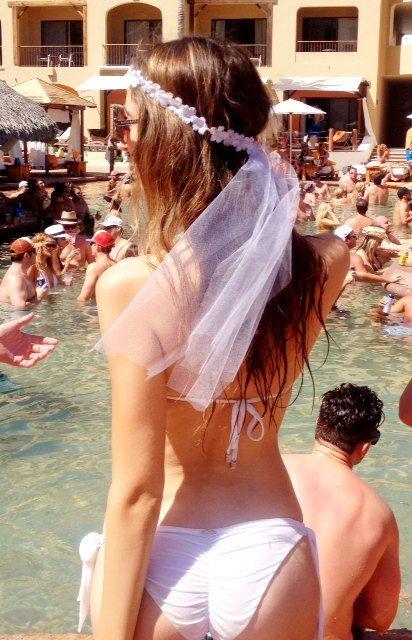 Flower Bridal Bachelorette Headband with Veil on Etsy, $18.00