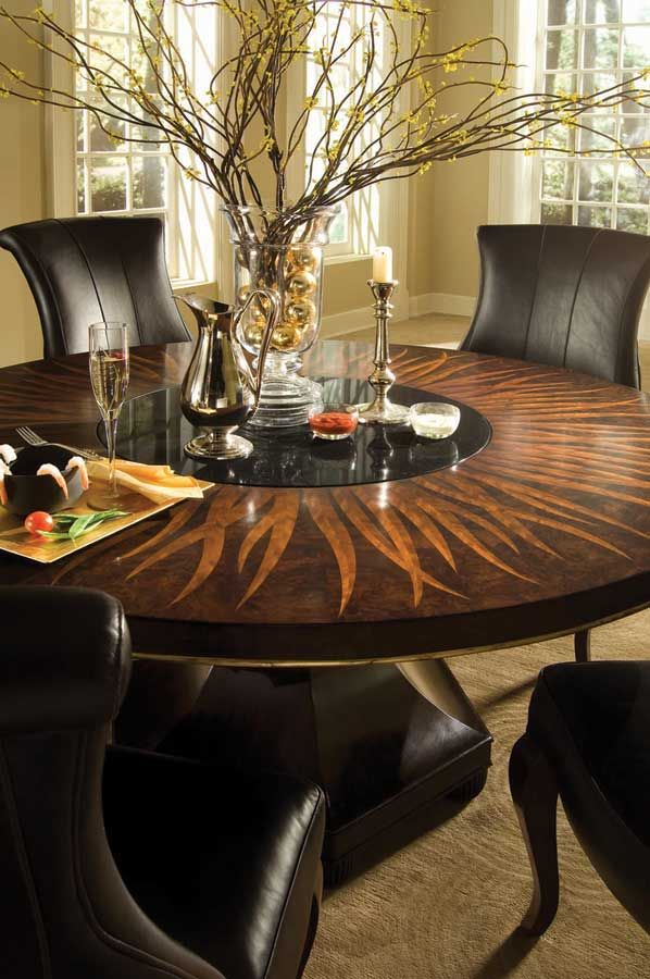 American Drew Bob Mackie 60 In Feather Round Dining Table With Lazy Susan