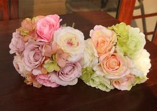 Bridal Wedding Bouquet Flowers Cheap Artificial Flower Silk Rose Home Party Garden Wedding Decoration Bridesmaid Hand Holding Flower 2015 #dhgatePin