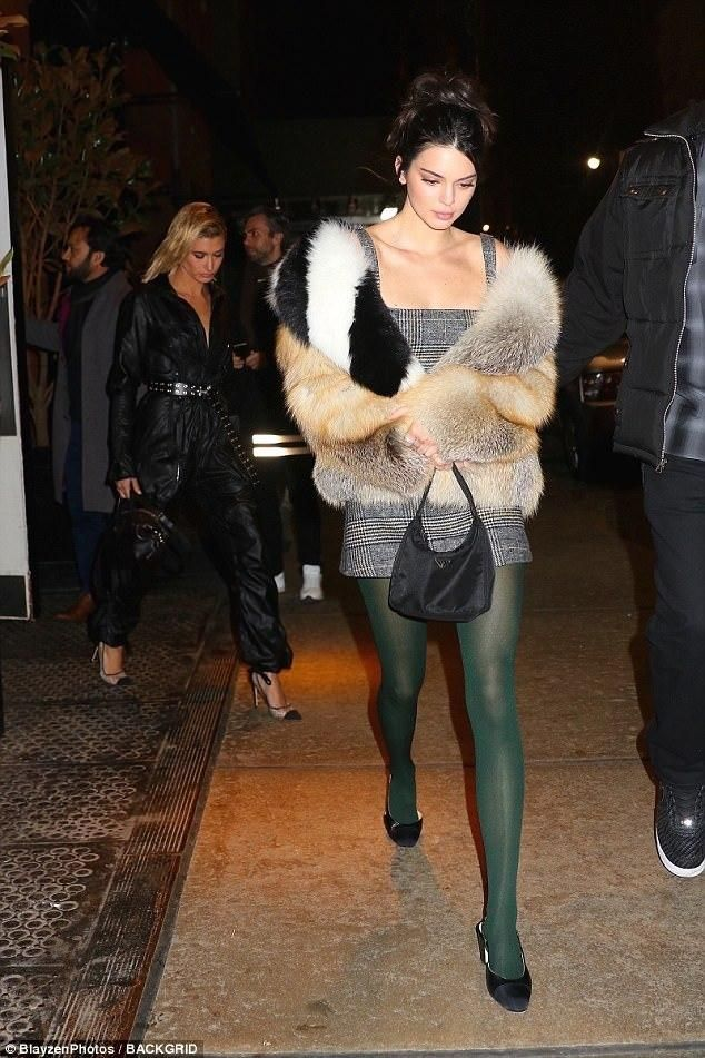 bdaffa5a8f2721 Kendall Jenner wearing Alexachung Checked Cut Out Back Dress, Prada Mini  Hobo Bag, Off-White Fox Fur Coat With Stole and Chanel Mademoiselle Cap Toe  Pumps