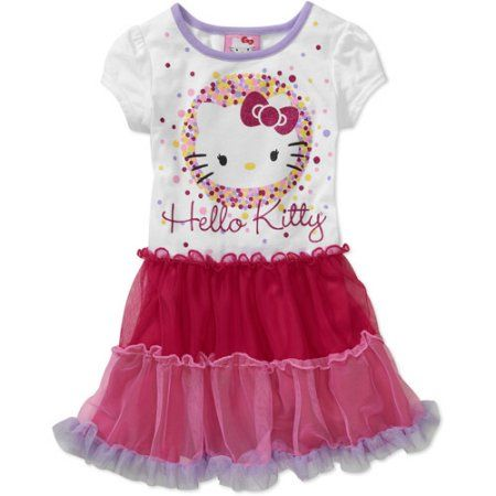 Hello Kitty Baby Girls' T-shirt Tutu Dress, White