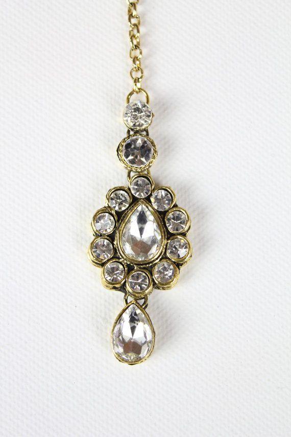 Stunning Gold handmade Kundan Stone Head Tikka, Matha Patti, Head Chain, Head Jewellery, Indian Tikka, Grecian Style on Etsy, £8.47