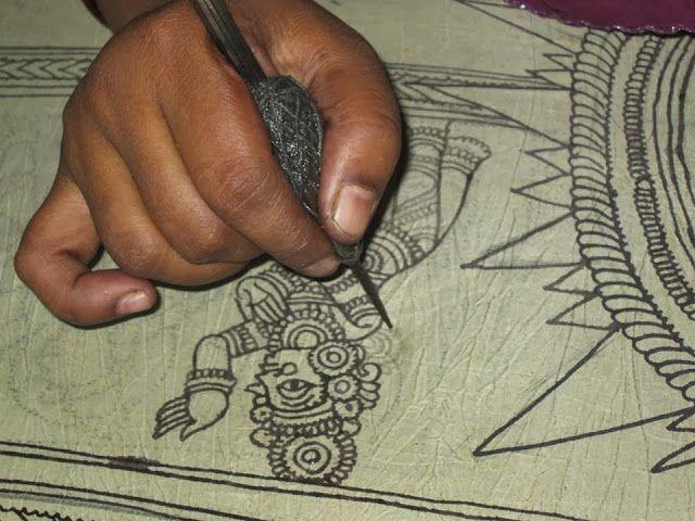 KALAMKARI - JAYANTH KALAMKARI DESIGNS: Pen Kalamkari Painting Process-http://kalamkari-jayanth.blogspot.co.uk/2013/11/pen-kalamkari-painting-process.html