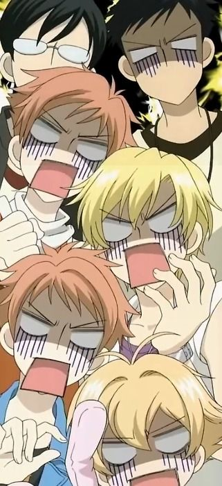 Ouran High School Host Club - Kyoya have a diff. reaction from the others he must be smilinh hahaha xD