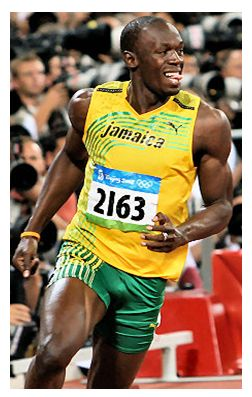Super star Olympian Usain Bolt. Jamaican track and field runner.  Great athlete and the fastest man on EARTH!