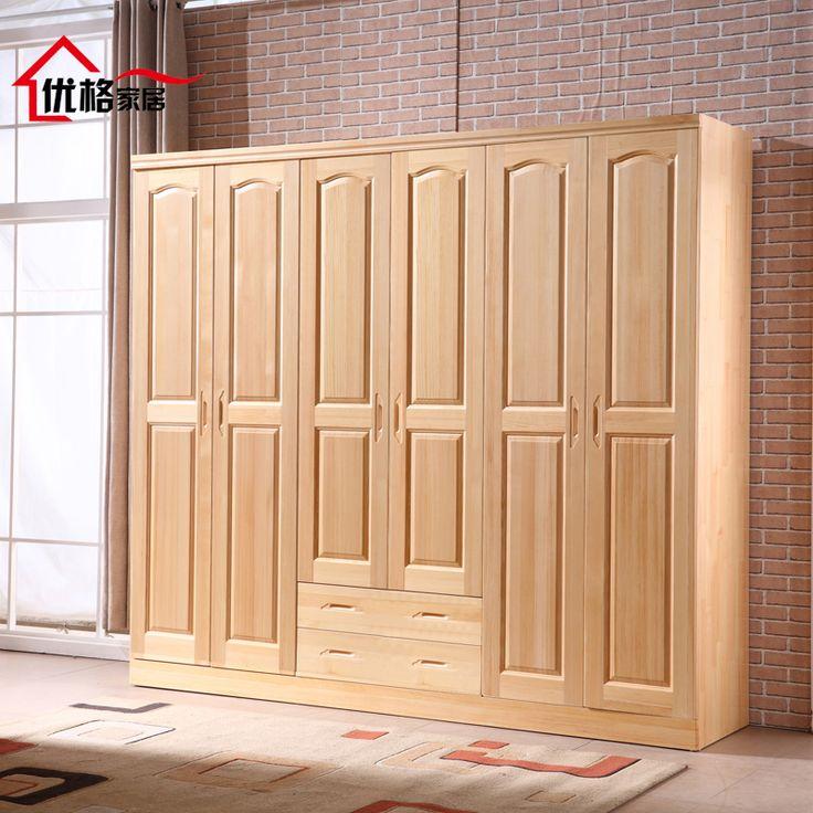 Toutes les pin armoire bois massif six armoire 6 porte armoire à portes avec rangement casiers Meuble haut armoire penderie adulte