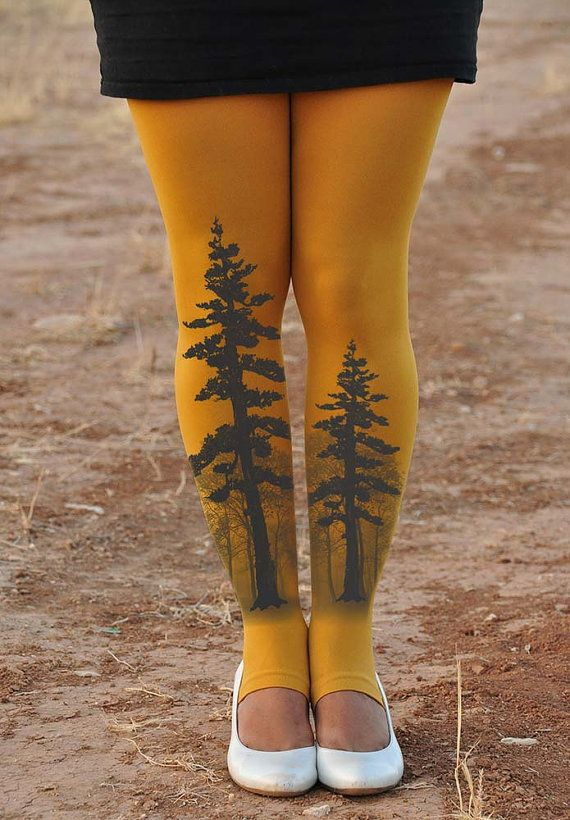 TREE Mustard Tights-Ballet tights dancing by TightsShop on Etsy