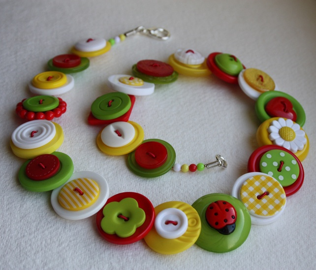 Ladybird and Daisy - Red, White, Lime Green and Yellow button necklace £13.00