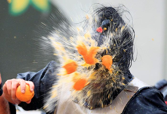 Let there be blood oranges. A thousand-strong annual medieval food fight in Ivrea, Italy.