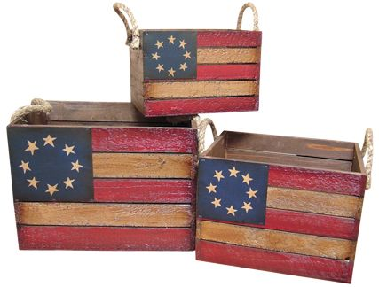 How about a little Americana on some crates, Betsy Ross style? I've always loved the circle of stars design.