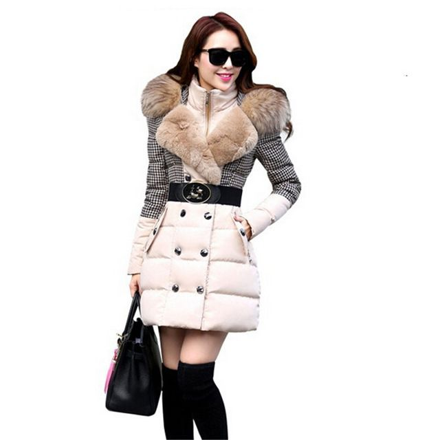 New 2015 Winter Coat Women Parka Warm Long Slim Thick Women Winter Jacket Patchwork Luxury Raccoon Fur Hood Down Outerwear  US $54.97 /piece    CLICK LINK TO BUY THE PRODUCT  http://goo.gl/oYWEYs