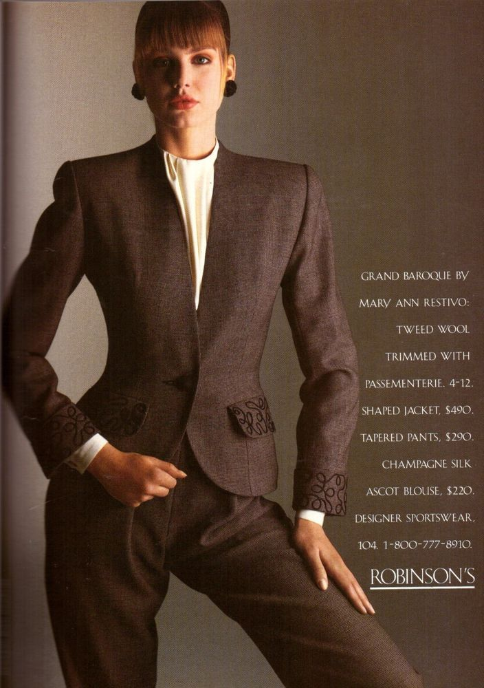 1988 Robinson's Mary Ann Restivo Fashion Print Advertisement Ad Vintage VTG 80s | eBay