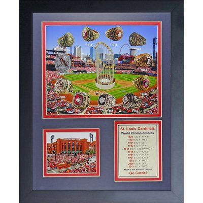 Legends Never Die St. Louis Cardinals World Series Rings and Championships Framed Memorabilia