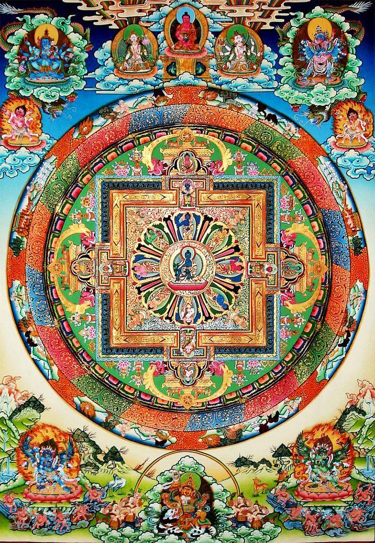 When contemplating the sacred universe. #mandalas encourage practitioners to focus on the geometric patterns a…   Tibetan mandala. Tibetan ...