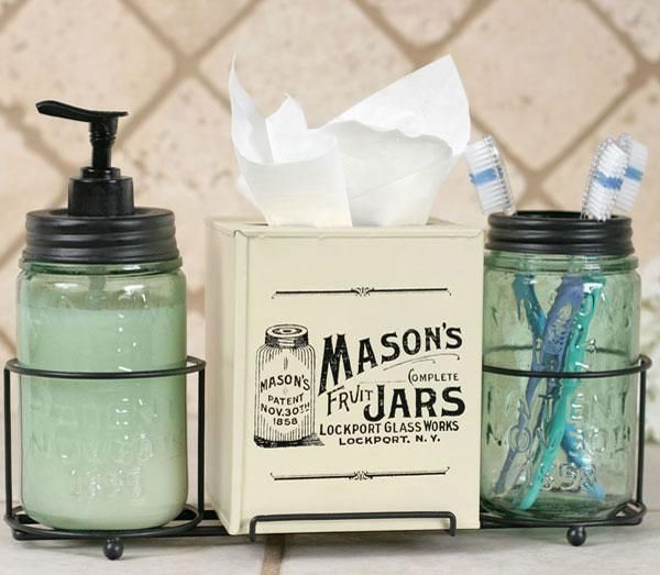 Vintage Country Mason Jars Bath Accessory Set  with Soap Dispenser Toothbrush Holder and Tissue Cover    diy this?