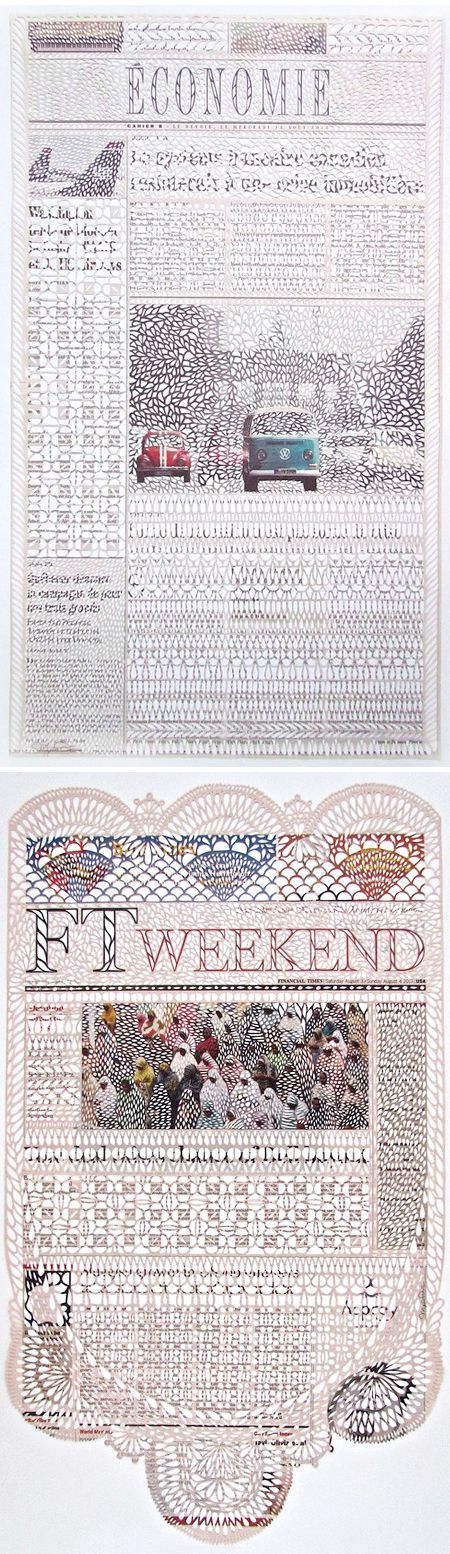 myriam dion - newspapers & a very sharp x-acto blade