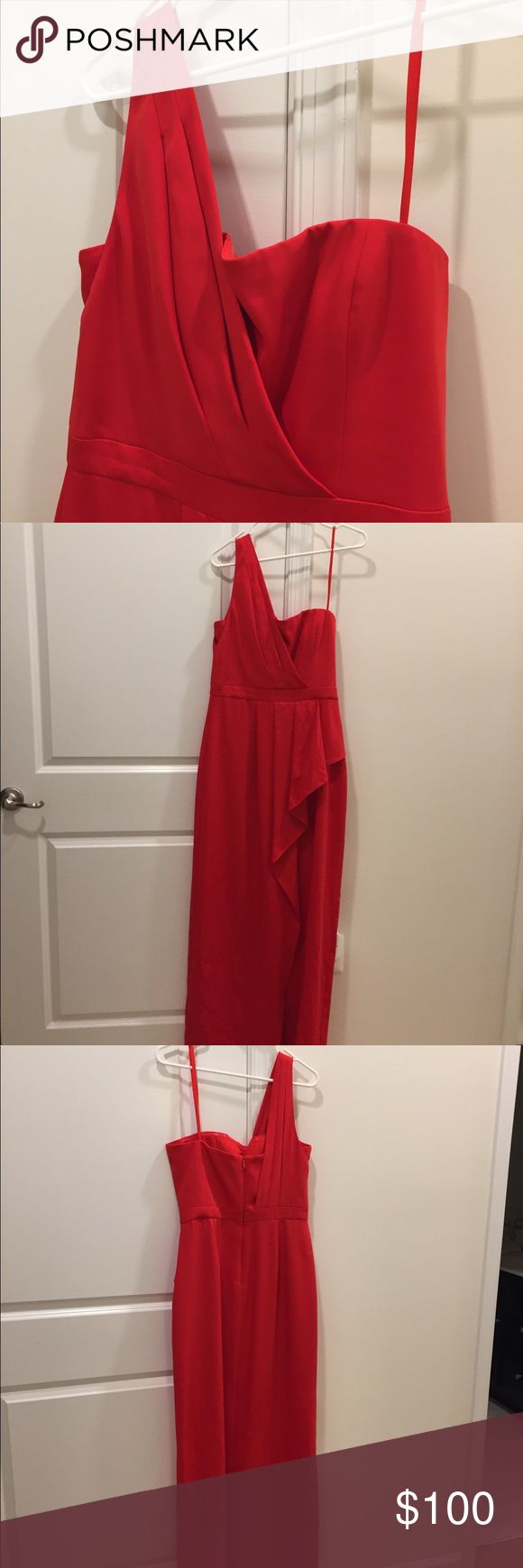 """Like New! BCBG Gown Gorgeous one shoulder BCBG gown with corset top and elegant draping. Features side slit. Was tailored to accommodate my 5'4"""" height plus 4 inch heels. Perfect for prom or wedding guest or Gala. BCBGMaxAzria Dresses Prom"""