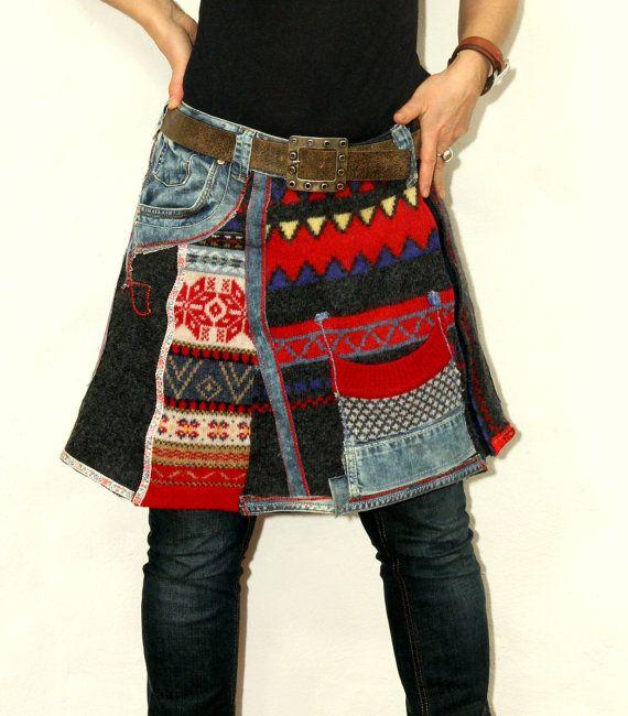 Loco del dril de algodón reciclado jeans sweaters mini falda