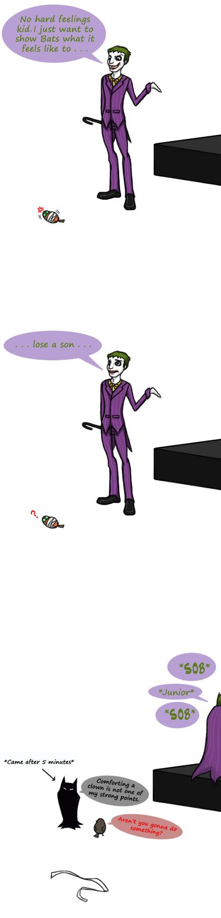 Bat Family (c) to DC comics. Drawn after seeing a short clip of UTRH on youtube, when the Joker finished betting Jason up. There's reference to Batman:The Killing Joke where the Joker lost his wife...