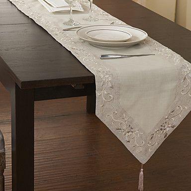 Tradicionais de poliéster floral bege caminhos de mesa – BRL R$ 22,32