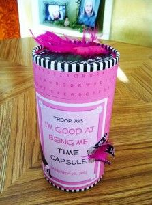 """I know this is a very girly Time Capsule idea, but I love the idea of using an oatmeal container and recording things to review in the years to come.  This would be a great idea to use for Activity Days.  I also thought about adapting it for the summer when my grandsons come out to """"Camp Helaman.""""  We spend a week or two together and have lessons about gospel principles in between other fun activities.  Have fun with your kids!"""