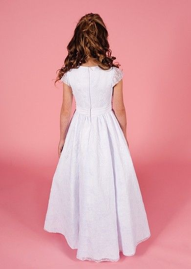 Full Length Lace First Communion Dress - 2014 Linzi Jay Collection Bella- Sleeveless, Beaded, Satin & Lace Full Length If you want to register to preview our 2014 collection click on link http://www.firstholycommunionday.co.uk/2014-first-communion-dresses-589-c.asp
