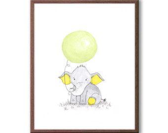 Vivero arte, elefante vivero Decor, nueva bebé regalo, los niños sala de arte, arte de la pared para bebé guardería, E410