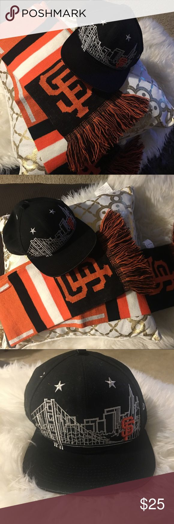🦋Bundle🦋 SF Giants Cap & Scarf SAN FRANCISCO GIANTS KNIT 2013 TEAM SCARF MLB LICENSED retails for $19, never wore. One size fits all scarf made of 100% acrylic. Purchase cap at the att park for $39 plus tax. Cap was used one time only. All items are honestly presented to the best of my knowledge, and are stored in a non-smoking environment. Item is in great condition unless noted. No returns  Please view listing pictures & additional questions are always welcomed. New Era Accessories Hats