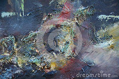 Dark and mysterious hand made painting on canvas with red and green splashes.