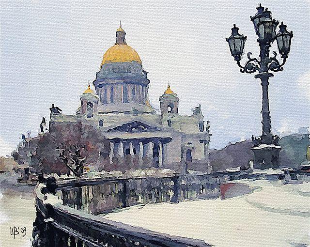 Vitaly Shchukin (piker77)             DIGITAL WATERCOLOR   Saint Isaac's Cathedral, St. Petersburg