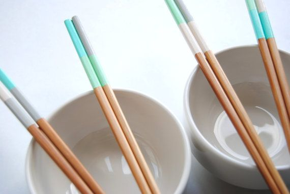SANDY BEACH Collection - Ivory, Gray, Blue, Mint - Set of 4 Paint Two-Tone Dipped Finished Bamboo Chopsticks