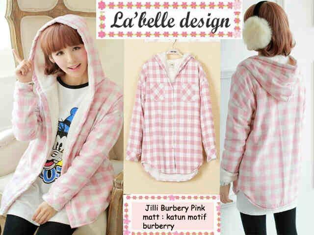 (READY) Jilly burbery pink, hrg 66rb, bhn katun motif burbery pink, ada hoodie, bs muat smpai L