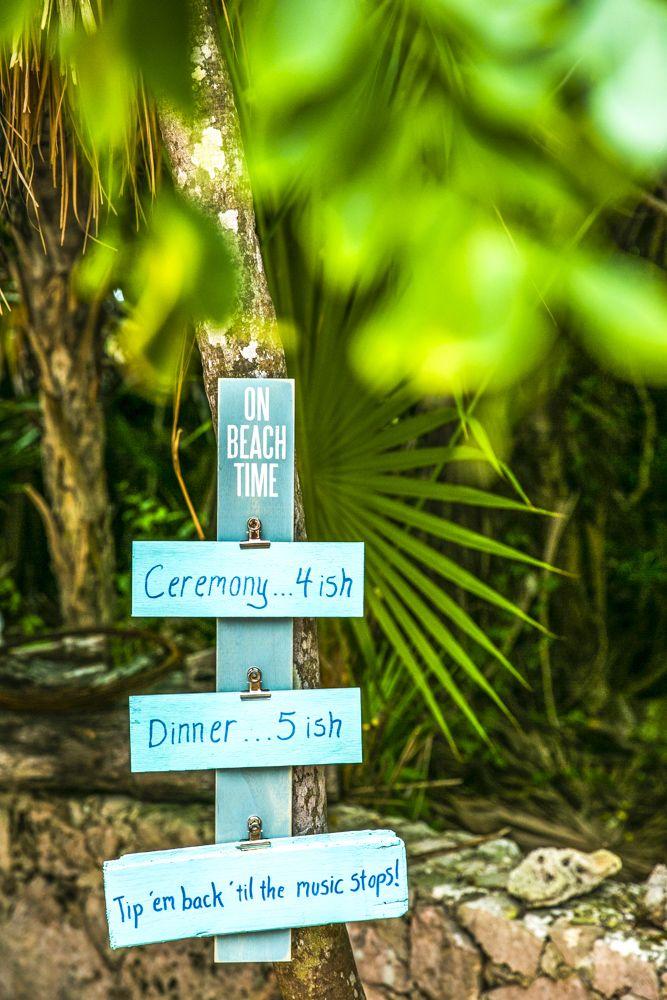 LOL...the perfect sign for a beach wedding in Mexico  (Wedding Photography by Fun In The Sun Weddings)  https://funinthesunweddings.com/wedding-stories/kayla-logan-puerto-aventuras-villa-wedding-mexico/