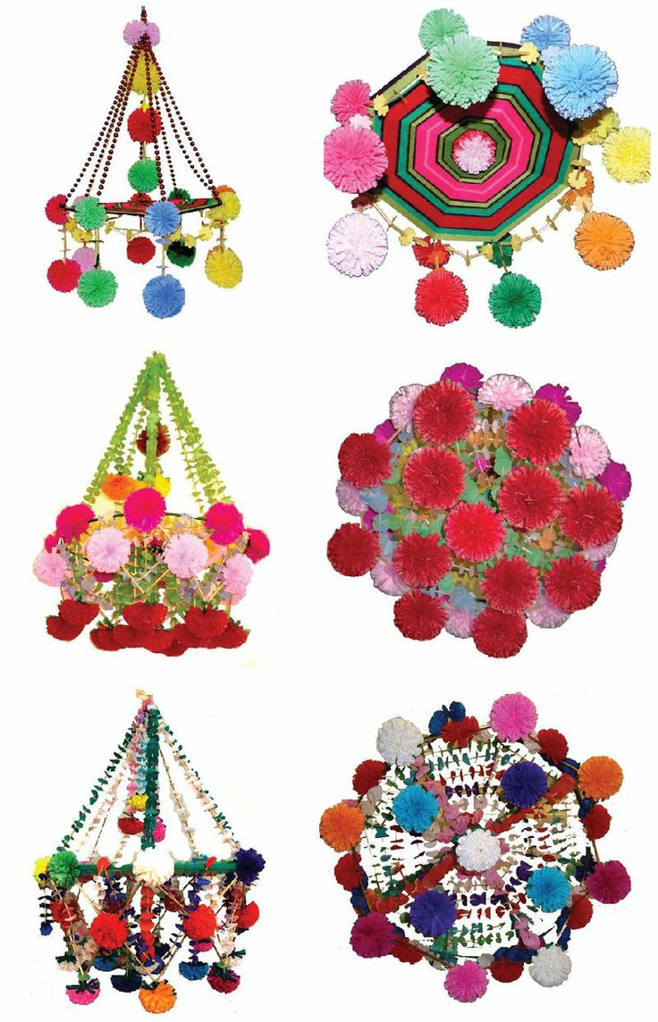 "Pajaki (plural of 'pajak') ~ Polish for ""spiders of straw,"" a traditional folk art, floral-like mobile made with paper, straw, and yarn. These are via the Pol Art Center and are handmade in the town of Nieborow."