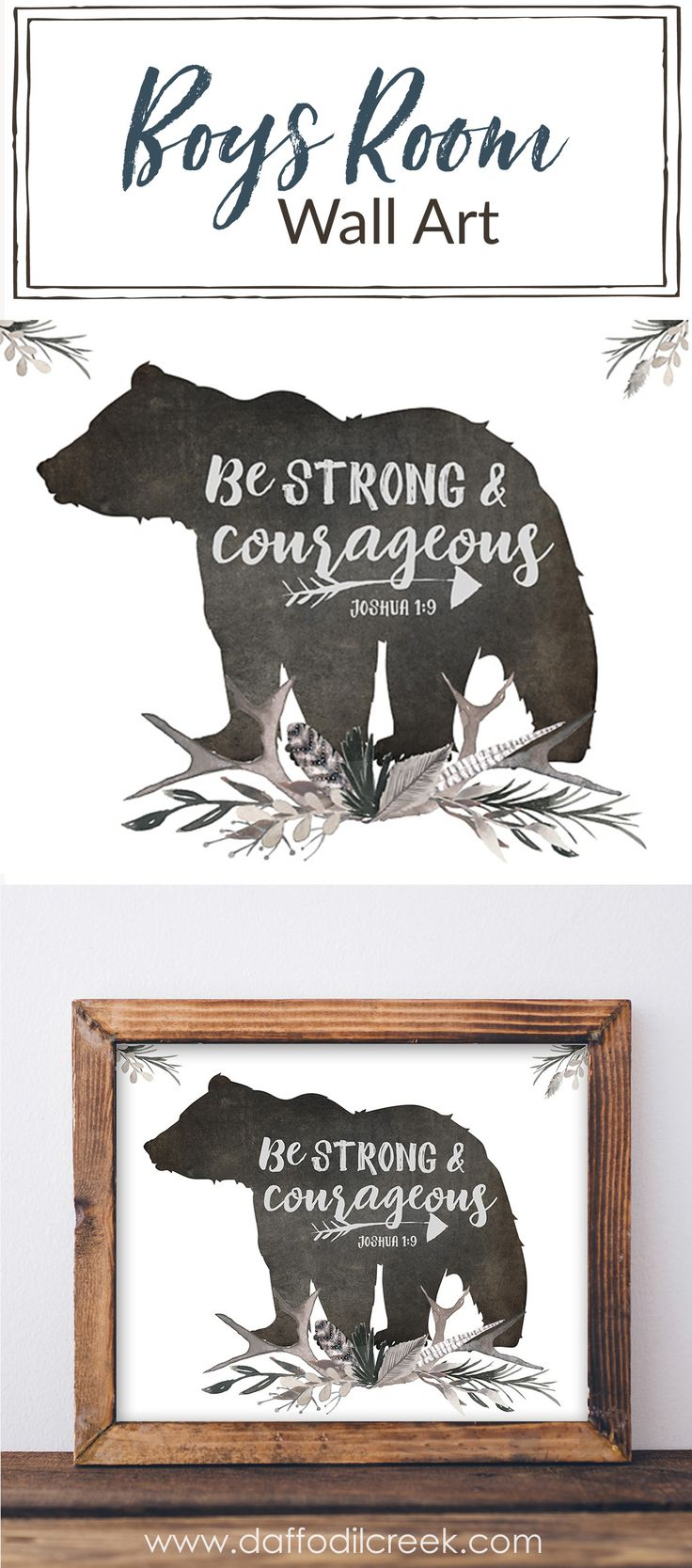 "Be Strong and Courageous Lettered Print - Add some encouragement to your little boy's walls with this woodland scripture print! A portion of Joshua 1:9 ""Be strong and courageous"" is paired with a bear silhouette and masculine watercolor greenery in gray tones. Perfect for a boys room or nursery!"