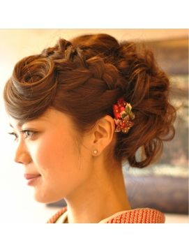 Kimono up do for medium long hair. Well this is just cool. My sweet bang swirl would maybe be too distracting though... haha