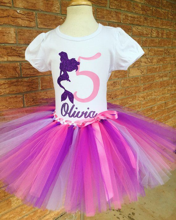 Girls Fifth Mermaid Birthday Outfit 5th Tutu Pink