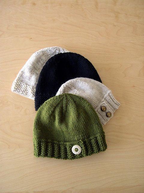 Knit Beanie Pattern Ravelry : Ravelry: Button-Tab Hat pattern by Marcie Nishioka. Knitting (and crochetin...
