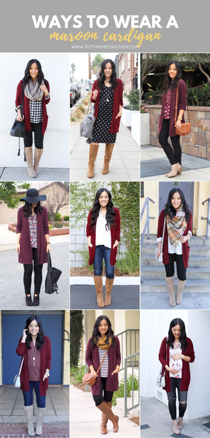 9 Outfits with a Maroon Cardigan