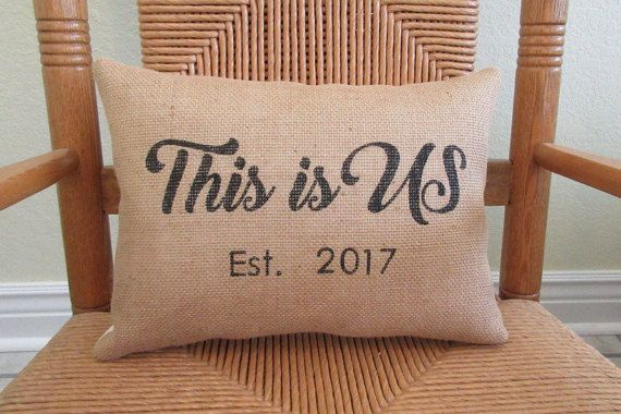 This is us burlap pillow Personalized pillow by KelleysCollections
