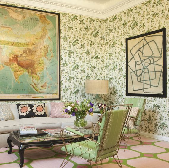"""Pink & Green room, palm tree wallpaper, hex rug, """"Squares"""" by Peter Dunham for Natural Curiosities Art -: Fashion Beautiful, Decor Ideas, Peter Dunham, Lisa Fine, Maps, Interiors Design, Fine Textiles, Living Room, Wallpapers Pattern"""