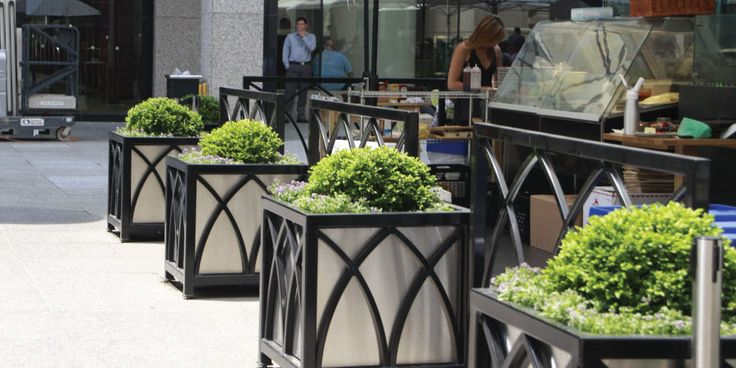 Beautiful Custom planters and patio enclosures at Brookfield Place, Toronto, ON #maglin #maglinsitefurniture