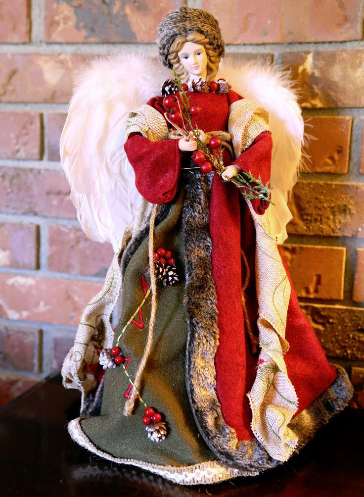 FOR SALE eBay   DECKED WITH BERRIES AND PINE CONES. PRIMITIVE ANGEL. Tree Topper Angel