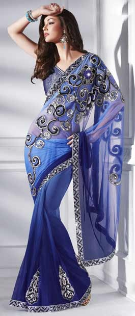 Shaded #Blue Net #Saree with #blouse @ $95.72 | Shop Here: http://www.utsavfashion.com/store/sarees-large.aspx?icode=sws4137 #netsaree #snapdeal #India