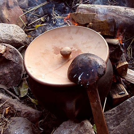 Mushroom stew cooking in the Iron Age village in the Land of Legends, Denmark
