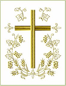 Cross in Oval Wreath embroidery designs