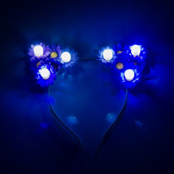 Customizable LED Cat Ear Headband, Floral Cat Ears, Burning Man Clothing, Beyond Wonderland, Nocturnal Wonderland, Escape Music Festival