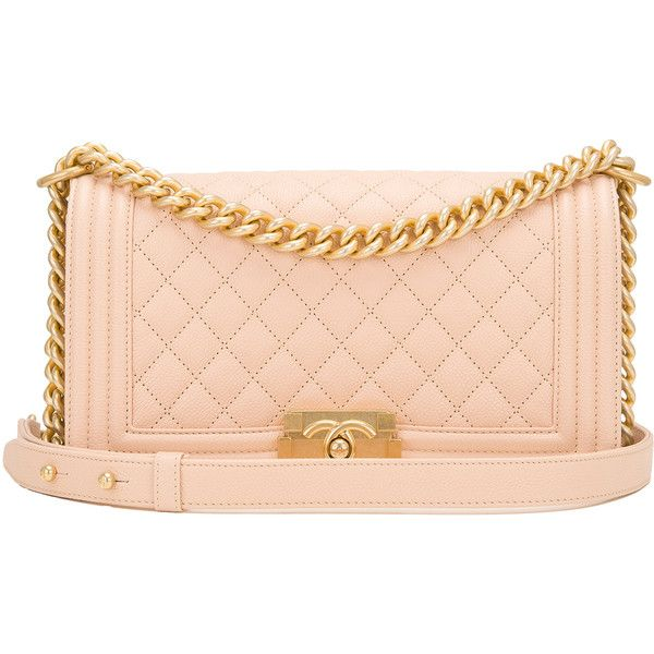 Pre-Owned Chanel Light Beige Quilted Caviar Medium Boy Bag ($6,550) ❤ liked on Polyvore featuring bags, handbags, beige, genuine leather purse, chanel purse, genuine leather handbags, leather purses and chanel handbags